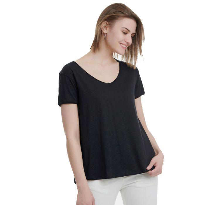 Funky Buddha t-shirt με V ντεκολτέ FBL00110304