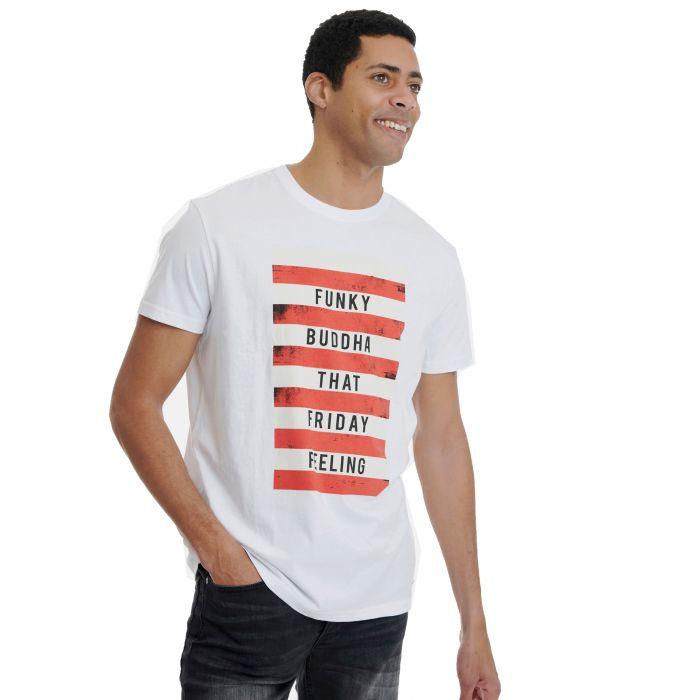 Funky Buddha t-shirt με τύπωμα FBM00107604 FBM00107604