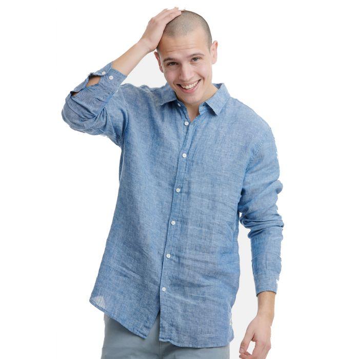 Funky Buddha πουκάμισο λινό FBM00102905