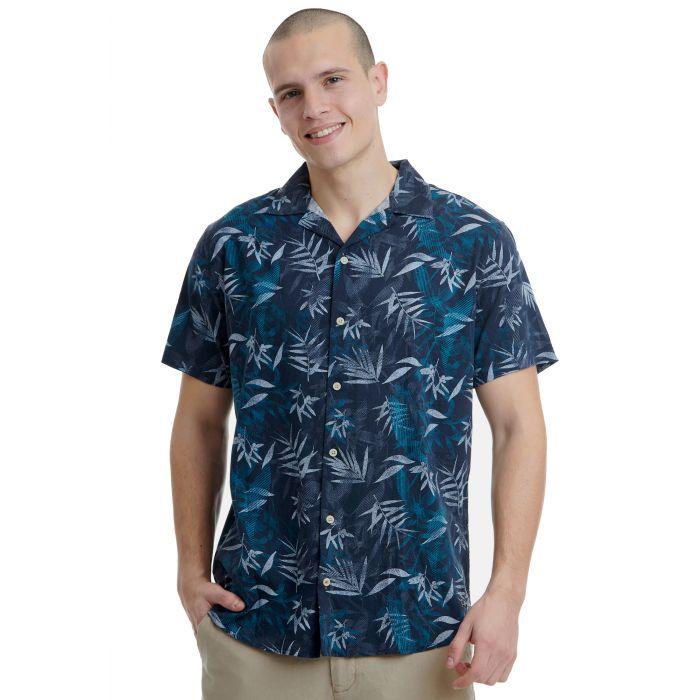 Funky Buddha πουκάμισο εμπριμέ κοντομάνικο FBM00103405