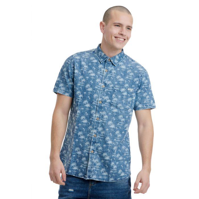 Funky Buddha πουκάμισο κοντομάνικο σταμπωτό FBM00104005