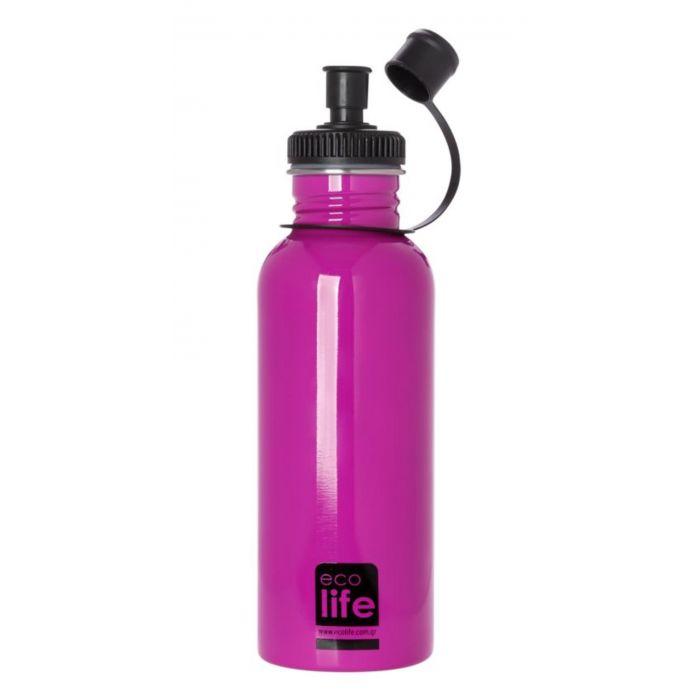 Eco Life Pink μεταλλικό ανοξείδωτο μπουκάλι 600ml 33-BO-1009