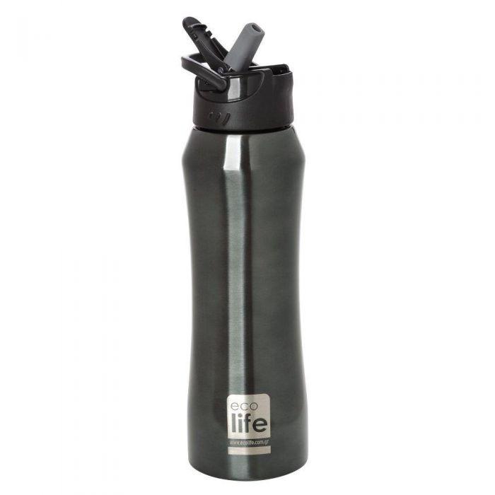 EcoLife Black Thermos με καλαμάκι 550ml 33-BO-3020