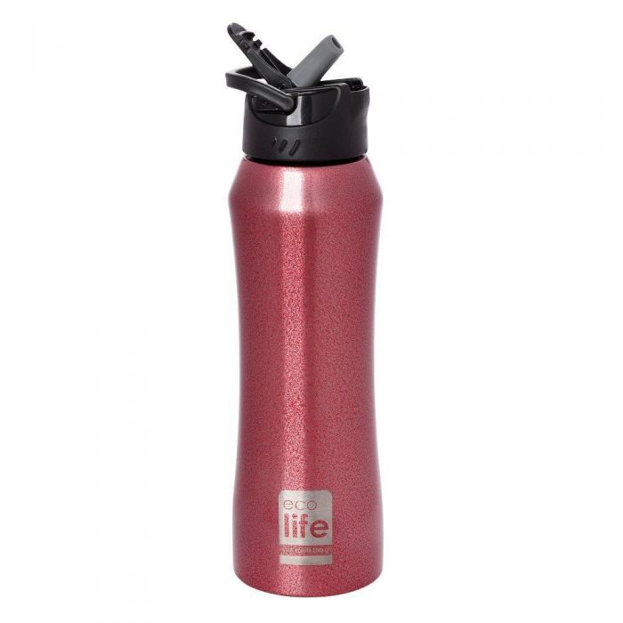 EcoLife Red Thermos 550ml με καλαμάκι 33-BO-3021