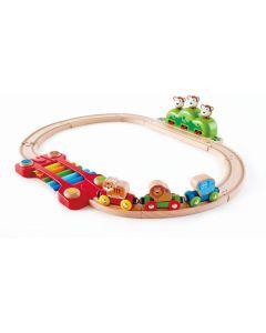 Hape Railway Ξύλινο Σετ Σιδηρόδρομος Music & Monkeys 401916003825.