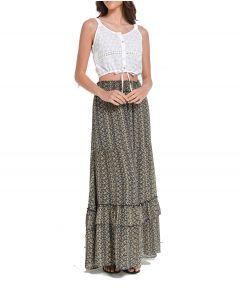 Attrattivo φούστα floral με βολάν 91547528